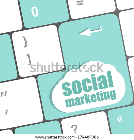 social marketing or internet marketing concepts, with message on enter key of keyboard - stock photo