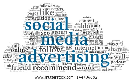 Social media advertising concept in word tag cloud of cloudscape shape - stock photo