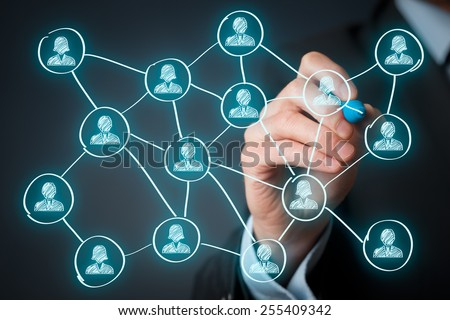 Social media and community concept. Man draw new connection in community.