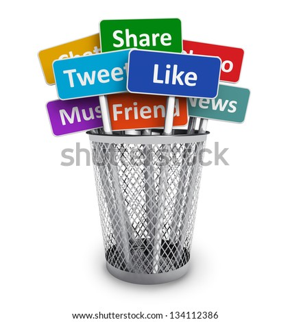 Social media and networking concept: group of color signs with social media services in metal office bucket isolated on white background - stock photo