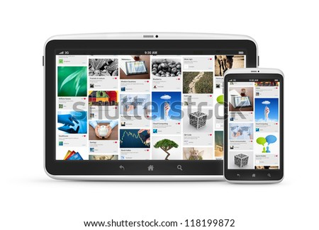 Social media application on modern digital tablet with mobile smartphone. Isolated on white. High quality and very detailed realistic object. - stock photo