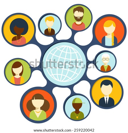 Social media avatar network connection concept. People in a social network. Concept for social network in flat design. Globe with many different peoples faces. Raster version - stock photo