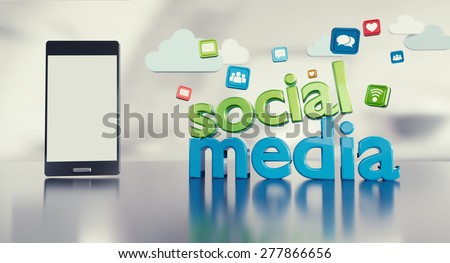 """Social media background with 3D """"social media"""" funny looking text reflecting on glossy floor, smartphone with empty screen and icons.  - stock photo"""