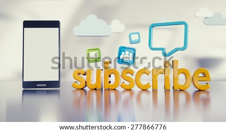 Social media background with smartphone, 3D subscribe text reflecting on glossy floor and icons. - stock photo