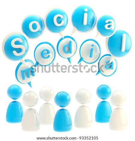 Social media blue glossy emblem made of text bubbles and symbolic human figures isolated on white - stock photo