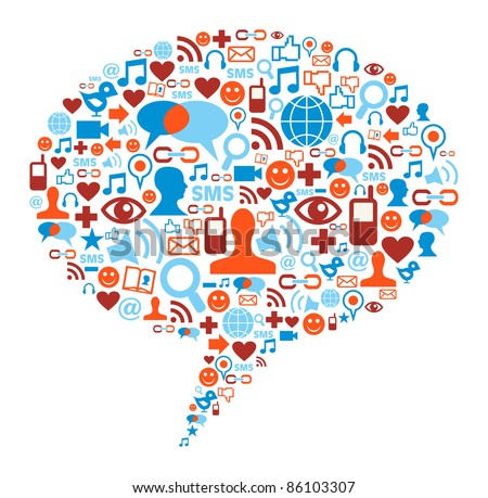 Social media bubble shape made with global communication icons - stock photo