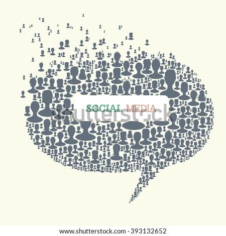 Social Media Bubble Speech Concept. Raster version. - stock photo