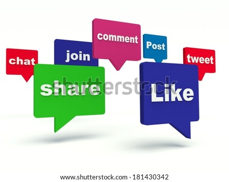 Social media bubble speech. 3d render illustration. - stock photo