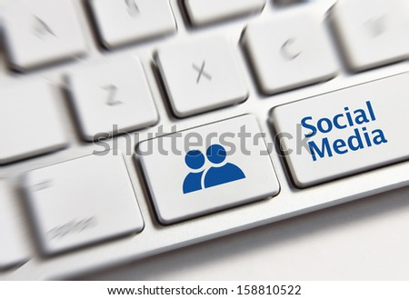 Social Media button on a keyboard showing the social media icon