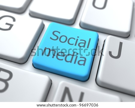 Social Media- Button on Keyboard.3D Concept. - stock photo