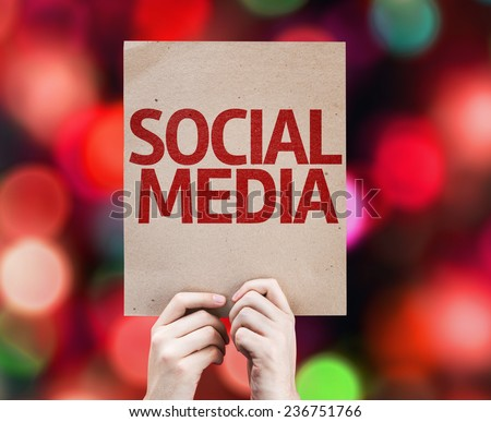 Social Media card with colorful background with defocused lights - stock photo
