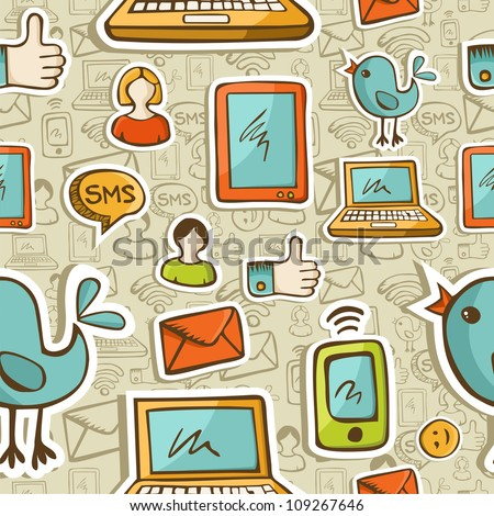 Social media cartoon icons colorful seamless pattern . - stock photo