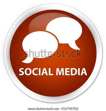 Social media (chat bubble icon) brown glossy round button - stock photo