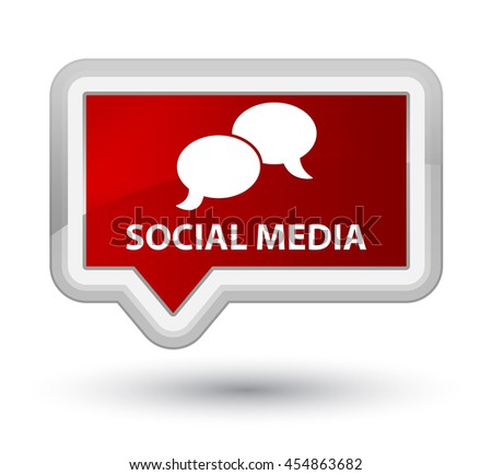 Social media (chat bubble icon) red banner button - stock photo