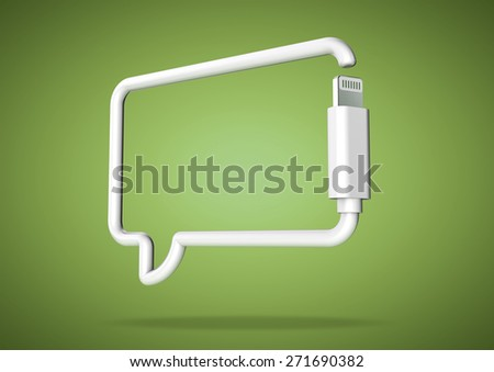 Social media chat bubble web icon made from computer cable - stock photo