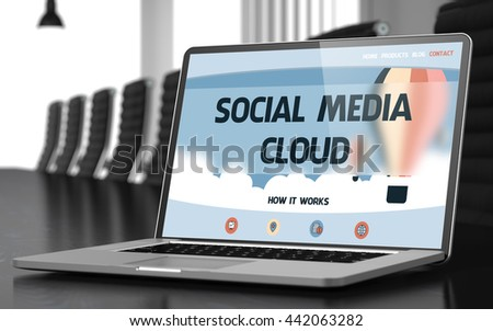 Social Media Cloud Concept. Closeup of Landing Page on Laptop Screen in Modern Meeting Room. Blurred Image. Selective focus. 3D Illustration. - stock photo