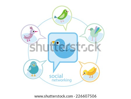 Social media communication network concept. Set of different birds in bubble cartoon design style. Raster version - stock photo