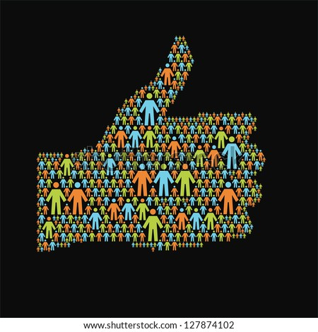 Social media concept. Background with hand of thumbs up symbol, which is composed of people icon. Simple illustration with silhouettes of person, sign - well. For vector version see image id 102263497 - stock photo