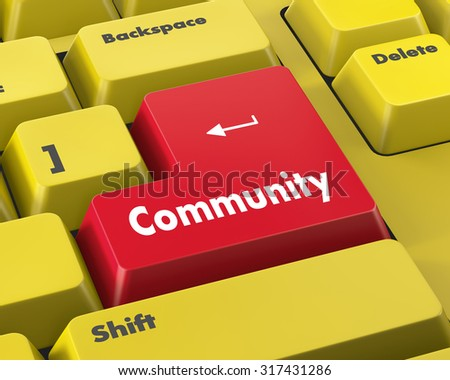 Social media concept: computer keyboard with word Community, selected focus on enter button background, 3d render - stock photo