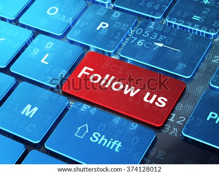 Social media concept: Follow us on computer keyboard background - stock photo