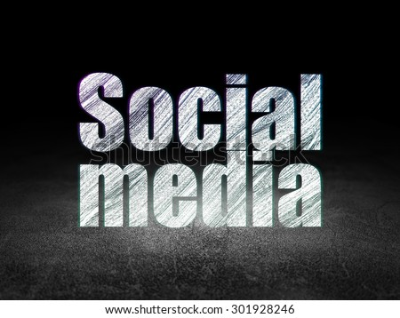 Social media concept: Glowing text Social Media in grunge dark room with Dirty Floor, black background, 3d render - stock photo