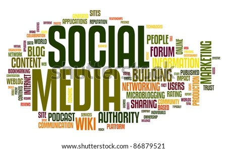 Social media concept in word tag cloud on white - stock photo