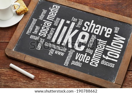 social media concept - like, share, follow word cloud on a vintage blackboard with a cup of coffee - stock photo