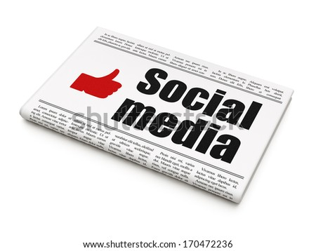 Social media concept: newspaper headline Social Media and Thumb Up icon on White background, 3d render - stock photo