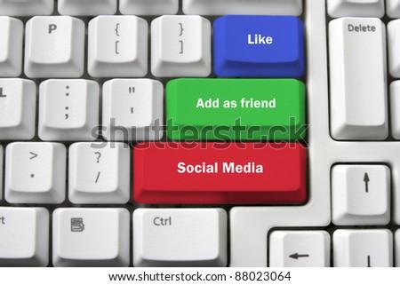Social Media Concept on Keyboard - stock photo