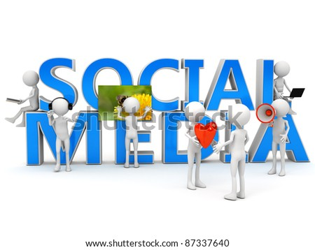 Social media concept over white. computer generated image - stock photo