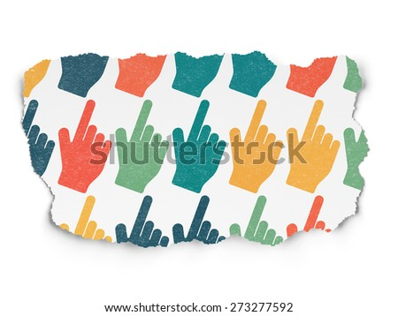 Social media concept: Painted multicolor Mouse Cursor icons on Torn Paper background, 3d render - stock photo