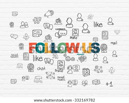 Social media concept: Painted multicolor text Follow us on White Brick wall background with  Hand Drawn Social Network Icons - stock photo