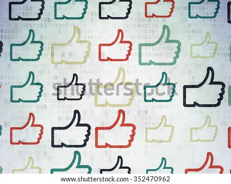 Social media concept: Painted multicolor Thumb Up icons on Digital Paper background - stock photo
