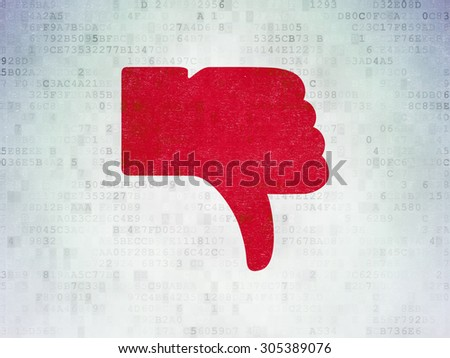 Social media concept: Painted red Thumb Down icon on Digital Paper background, 3d render - stock photo