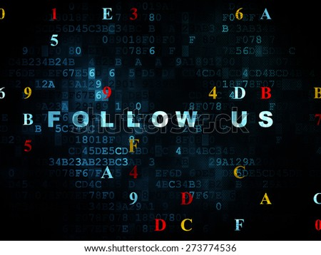 Social media concept: Pixelated blue text Follow us on Digital wall background with Hexadecimal Code, 3d render - stock photo