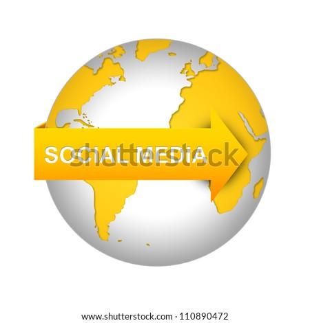 Social Media Concept Present With The Yellow Globe With Social Media Arrow Isolated on White Background - stock photo
