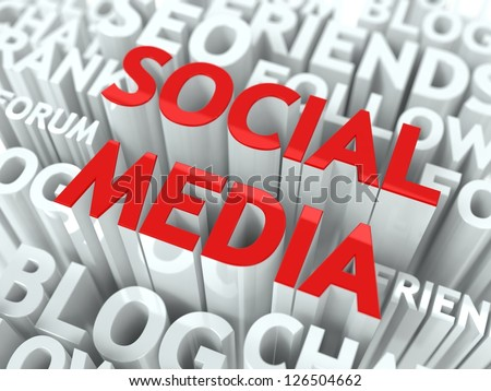Social Media Concept. The Word of Red Color Located over Text of White Color. - stock photo