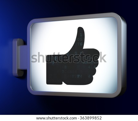 Social media concept: Thumb Up on billboard background - stock photo