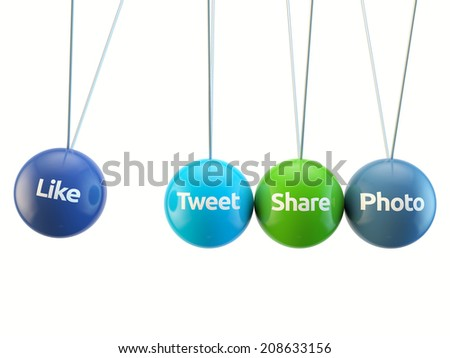 social media cradle - like, tweet, share, photo, friend isolated white backgorund with clipping path - stock photo