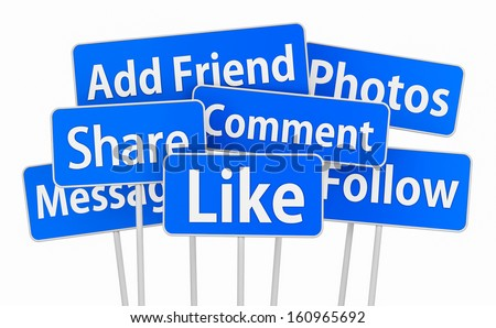 social media  3d symbol icon like share comment message - stock photo