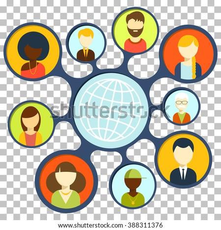 Social media design flat concept. Social and media, social media, social network, blog and technology internet social, business communication, web social network, people social online illustration - stock photo
