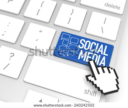 Social Media enter key with hand cursor. 3D rendering - stock photo