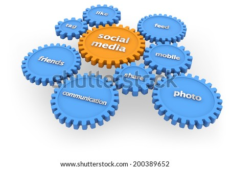 social media gears isolated on white background - stock photo
