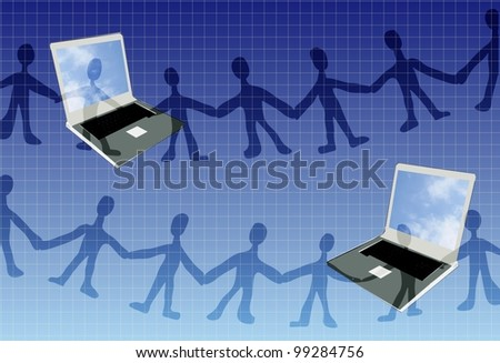 social media human chain - stock photo