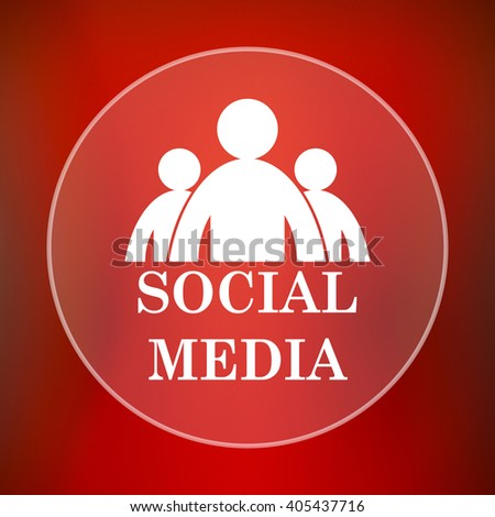 Social media icon. Internet button on red background.