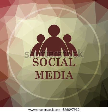 Social media icon. Social media website button on khaki low poly background.