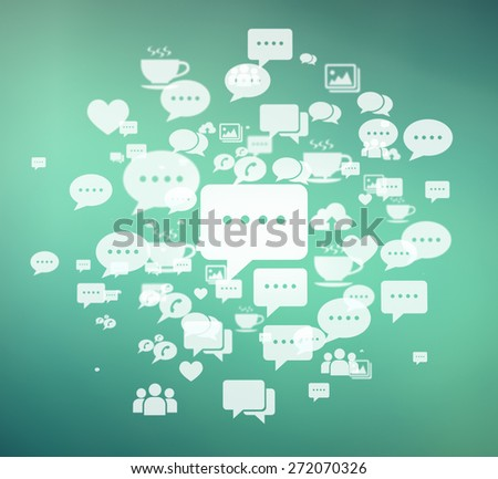 Social media icons background. - stock photo