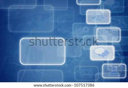 social media icons blue background. - stock photo
