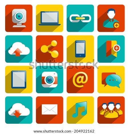 Social media icons flat set with internet network elements isolated  illustration - stock photo
