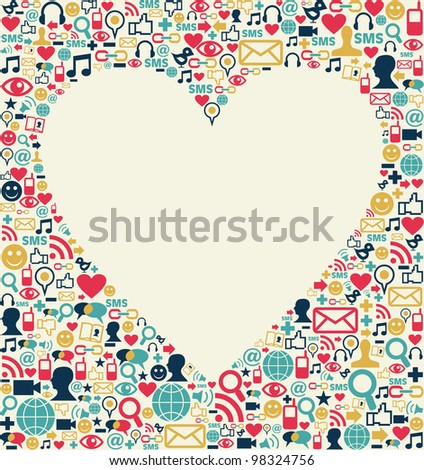 Social media icons set texture with heart shape composition background. - stock photo